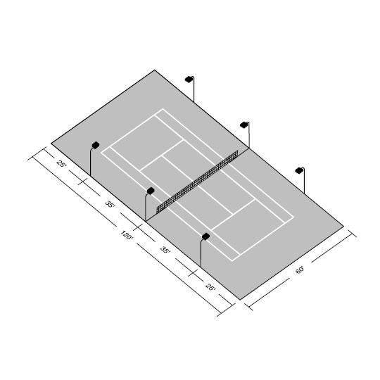 LED Single Tennis Court Recreational Kit