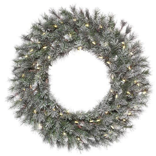 Frosted Lacey Wreath (Pre-Lit)