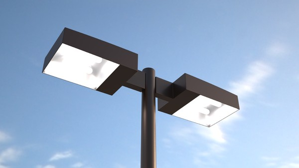 Parking Lot Lighting Package With 24 Foot Pole And Two Light Fixtures.  Anchor Bolts Included For Secure Installation.