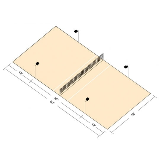 LED Standard Volleyball Court Package Direct Burial