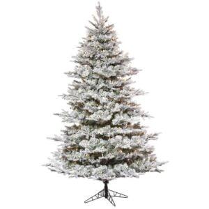 Flocked Kiana Christmas Tree (Pre-Lit) Warm White 12′