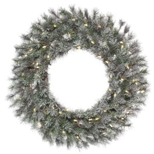 Frosted Lacey Wreath, Pre-lit