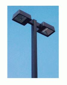 25' Square Straight Pole Double Fixture Light Package