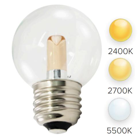 G50 LED Bulbs (25-Pack) Transparent, E26 Base