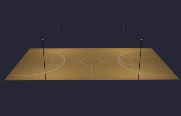 LED Basketball Full Court Lighting System: Direct Burial